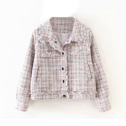 Fashion Tassel Tweed Coats Women Patch Designs Long Sleeve Plaid Jacket Lady Outerwear Turn Down Collar Casual Tops Abrigo Mujer