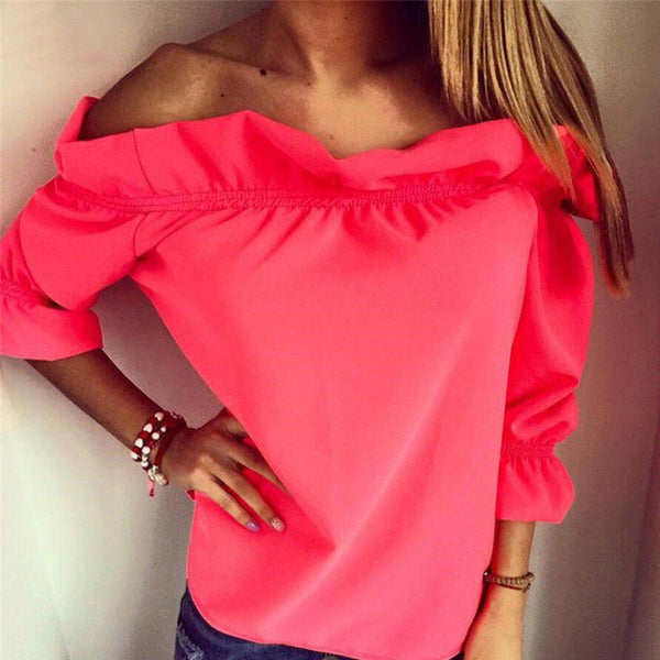puff sleeve slash neck soild shirt Strapless Off Shoulder Ruffles Feminine Blouses Ladies Tops