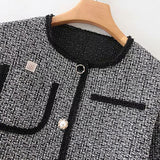 Fashion Women Coat Autumn Spring Pearl Patch Designs Stylish Jacket Lady O Neck Single Breasted Elegant Coats Chaqueta Mujer