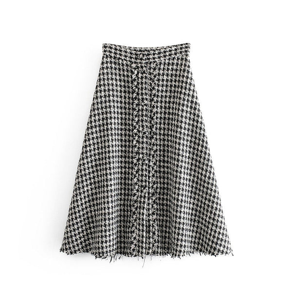 Female Vintage A Line Plaid Midi Skirt High Waist Casual Skirts For Women Black Color Mid Calf Plus Size Faldas Mujer Moda 2019