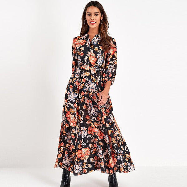 Floral Print Long Maxi Dress Women Elegant Casual Turn Down Collar Shirt Dress Three Quarter Sleeve Bohemian Sashes Dresses