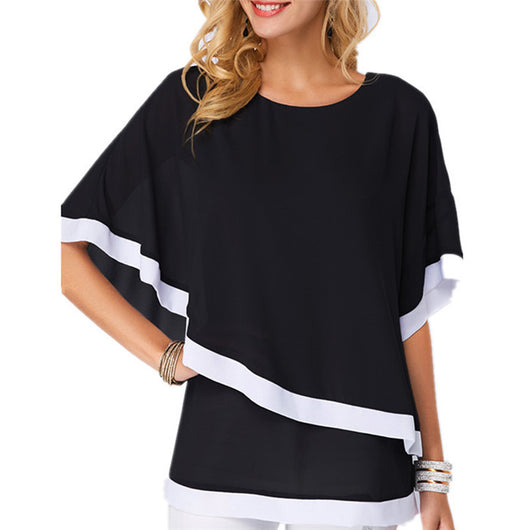 Women Spliced Long Shirt Chiffon Tops