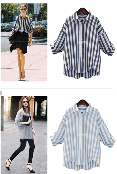 Blue White Striped Long Sleeve Shirt
