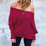 Off Shoulder Shirts Batwing Long Sleeve Slash Neck Blusas Casual Solid Tops
