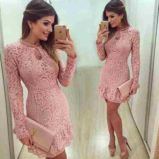 Sleeve Pink Evening Party Dresses