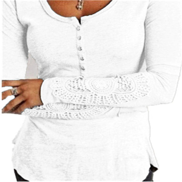 Lace Long Sleeve Shirts Slim Tops