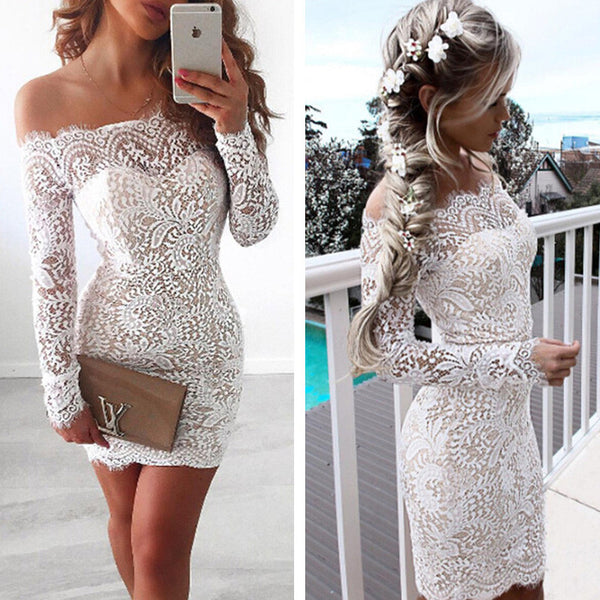 Off Shoulder Long Sleeve Sexy Mini Women Dress