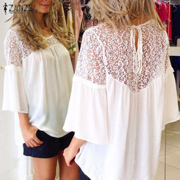 Summer Style Hot Sale Women Chiffon Patchwork Lace Solid Shirts