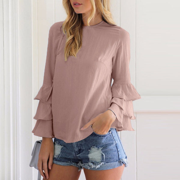 Flounce Long Sleeve Solid Loose Tops