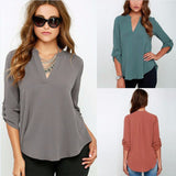 long sleeves chiffon ladies shirt