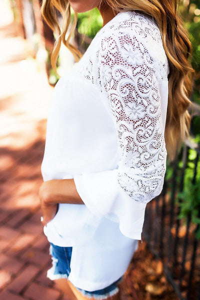 Hollow out Lace Patchwork White Blue Shirts