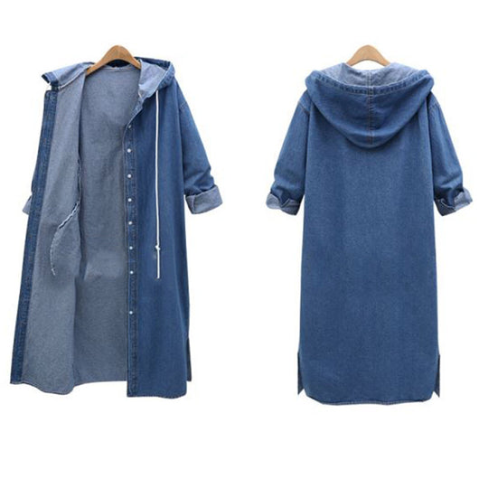 Women Hooded Denim Long Jeans Jacket