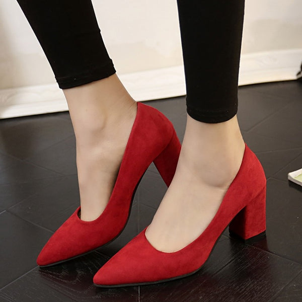 High Heels Women Pumps Sexy Nightclub Wedding casual shoes Pointed Toe Parties Dress Slip on Summer Flock Shallow Square