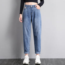 High Waist Denim Jeans Women Casual Solid Long Length Blue Pants Straight Plus Size Cowboy Trousers Ladies Retro Vaqueros Mujer