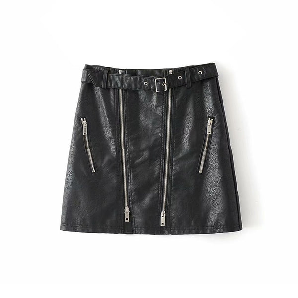 High Waist With Belt Faux Leather Skirt Women PU Leather Solid Mini Skirts Streetwear Female Front Zipper Short A Line Skirts