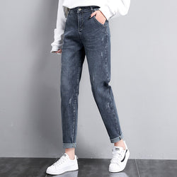 Jeans Women 2019 Boyfriend Jeans For Women'pants Vintage Ankle length Denim High Waist Loose Trousers Female Scratched Jeans