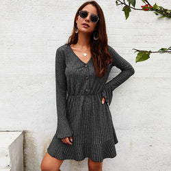 Knitted Women Solid Leisure Autumn Sweater Dress 2019 V Neck Flare Sleeve Elegant Mini Dress Ladies Casual Dresses Robe Femme