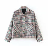 Lady Autumn Fashion Coat Pockets Long Sleeve Tweed Coats Turn Down Collar Jacket Women Outerwear Streetwear Manteau Femme