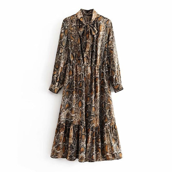 Lady Fashion Snake Print Shirt Dress Bow Tie Collar Long Sleeve Loose Dresses Stretch Waist Knee Length Pleated Vestidos Autumn