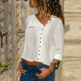 Long Sleeve Women Blouses and Tops Skew Collar Solid Office Shirt