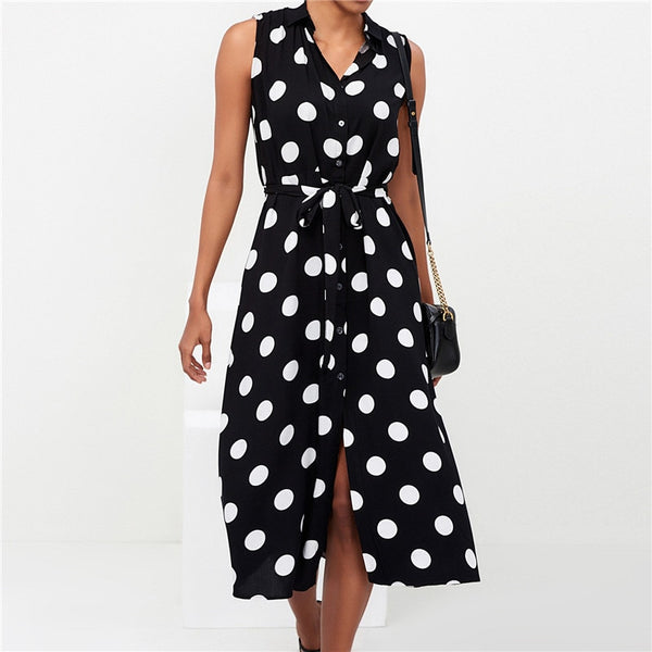 Long Dress Women Sexy Summer Polka Dot Beach Chiffon Dresses Boho Style Casual Party Turn Down Collar Office Shirt Dress Vestido