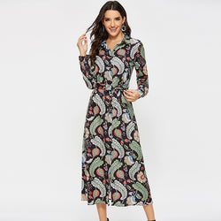 Long Floral Print Shirt Dress Women 2019 Vintage Long Sleeve Ladies Bandage Dresses Turn Down Collar Casual Office Button Dress