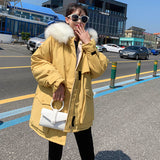 Loose Parka For Women 2019 Winter Thick Warm Zipper Coat Faux Fur Collar Warm Outwear Jackets Casual Hooded Coat