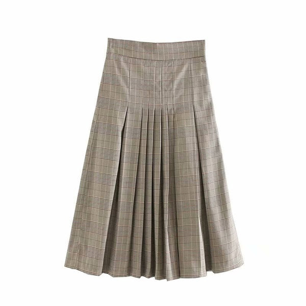 Midi Long Plaid Skirts For Women Vintage Ladies A line Pleated Skirts Autumn Spring High Waist Female England Skirt Faldas Mujer