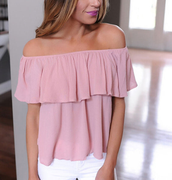 Loose Ruffle Off Shoulder Tops