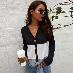 Patchwork Sweater Women Autumn Fashion Casual Lace Up Sweater Ladies Loose V Neck Button Leisure Cardigan Plus Size Pull Femme