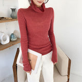 Pink Sweater Women Bodycon Pullover 2019 Casual Long Sleeve Solid Color Knitted Jumper Top Fashion Streetwear Autumn Tunic