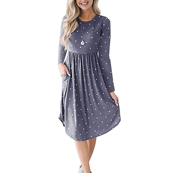Polka Dot Dress 2019 Ladies Long Sleeve Midi Dresses Casual O neck Elegant Dress Women Vintage Dot Print Dress With Pockets S XL