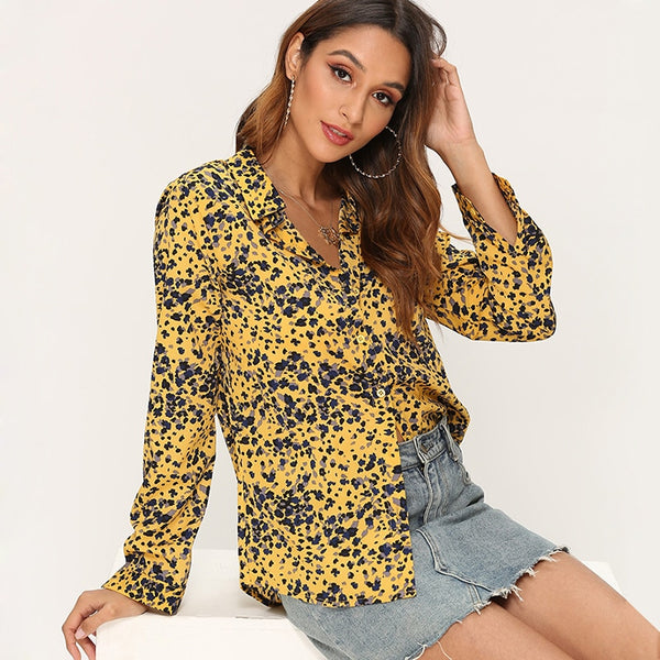 Printed Blouse Women 2019 Leisure Turn down Collar Office Blouse Long Sleeve Ladies Elegant Shirts Casual Loose Tops Plus Size