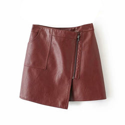 Pu Leather Asymmetrical Women Solid Skirt 2019 Fashion Ladies Zipper  Mini Skirts Spring Summer Sexy Short Faux Leather Clothing