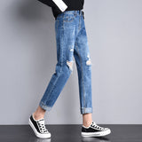 Ripped Jeans For Women 2019 Loose Harem Pants Fashion Hole Boyfriend Jeans Ladies Casual Ankle Length Washes Denim Trousers