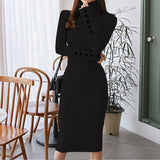 Sexy Bodycon Solid Dress Autumn Turtleneck Long Sleeve Knitted Fashion Dress Knee Length Button Jumper Vestido Sheath Ropa Mujer
