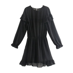 Sexy Hollow Out Mini Embroidery Dresses Two Piece Set Solid Long Sleeve Elastic Waist Pleated Dress Party Female Ruffles Vestido