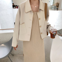 Solid Elegant Blend Coat Women Autumn Spring Turn Down Collar Batwing Long Sleeve Fashion Jacket Pockets Woolen Casual Outwear