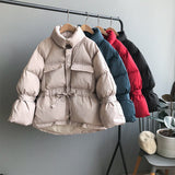 Solid Fashion Women Parka Coat Elastic Waist Pockets Stylish Jacket Winter Collection Zipper Thicken Warm Coats Outerwear Lady