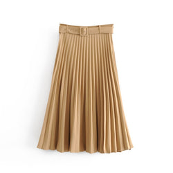 Solid Pleated Loose Skirt Sashes Mid Calf Skirts Womens High Waist Vintage Faldas Spring Autumn Pure High Quality Jupe Femme