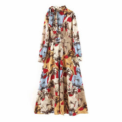 Stylish Vintage Printed Long Dress For Women Fashion Bow Tie Collar Long Sleeve Casual Dresses Elegant Sashes Dress Robe Femme