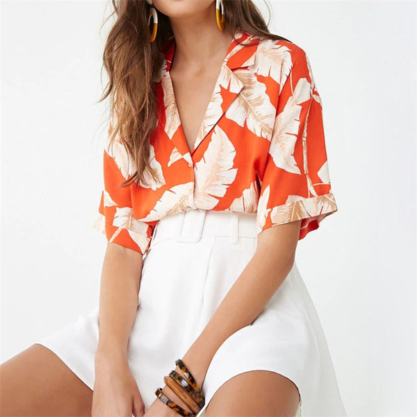 Summer Blouse Women Short Sleeve Chiffon Blouse Casual Boho Style Floral Print Tops Turn Down Collar Office Shirt Plus Size