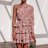 Summer Boho Beach Dress Women Long Sleeve One Shoulder Floral Print Chiffon Party Dress Elegant Ruffles Sexy Mini Dress Robe Ete