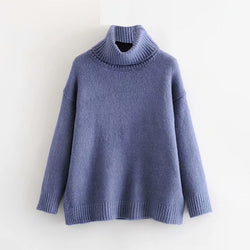 Turtleneck Sweater Women Solid Pullover Loose Causal Warm Winter Elegant Tops Batwing Long Sleeve Sweater Ladies Jumper