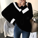 V neck Women Sweater Casual Autumn Winter Long Sleeve Patchwork Knitted Pullover Minimalist Clothing Korean Style Office Jumpe