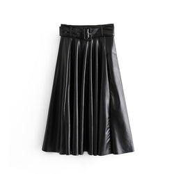 Vintage A Line Solid PU Leather Skirt High Waist Belt Fashion Skirts Mid Calf Office Pleated Stylish Faldas Mujer Moda 2019