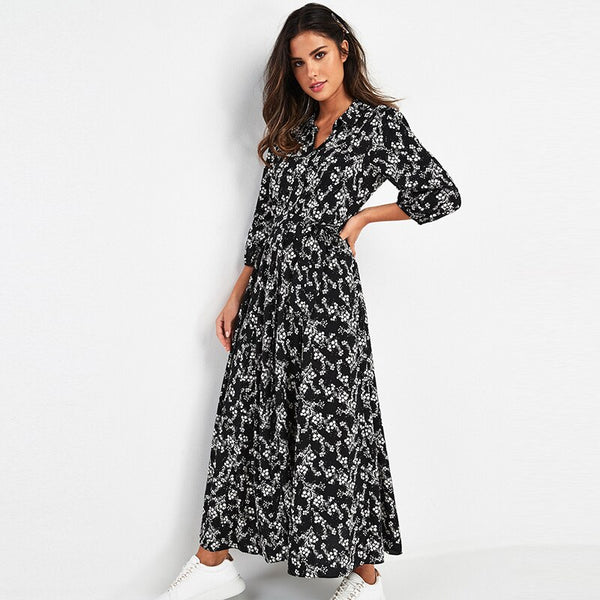 Vintage Floral Print Maxi Dress Women Boho Three Quarter Sleeve Long Sashes Dress Turn Down Collar Casual Shirt Dresses Robe