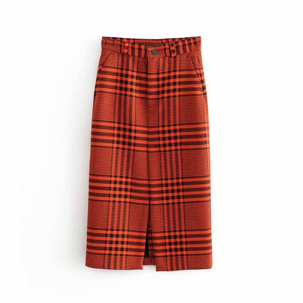 Vintage High Waist Women Plaid Print Skirt Fashion Straight Bottoms Female Front Split Skirts Fashion Elegant Ladies Midi Skirt