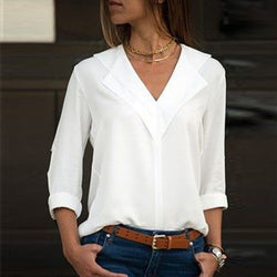 White Blouse Long Sleeve Leisure Blouse Double V neck Women Tops and Blouses Solid Office Shirt Lady Blouse Shirt Blusas Camisa