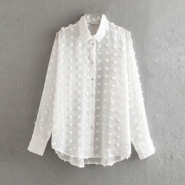 White Embroidery Lace Women Blouse 2019 Fashion Polka Dot Female Stylish Shirt Elegant Ladies Long Sleeve Tops Tunic Blusas